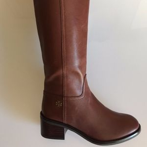 Tory Burch Fulton Brown Leather Knee High Riding